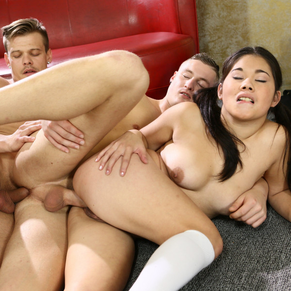 Cute Asian sucks two massive lollipops - Photo 11 / 16